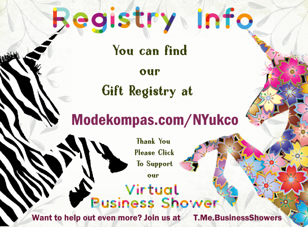 Click this registration info card for virtual business shower to access the gift registry